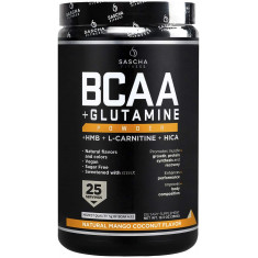 BCAA 4: 1: 1 + Glutamina, HMB, L-Carnitina, HICA (sabor natural de manga e coco)