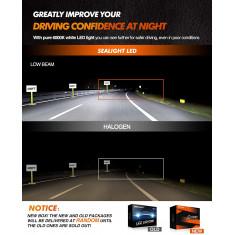 Lâmpadas de farol LED Scoparc S1 H11 / H8 / H9 branco brilhante - SEALIGHT