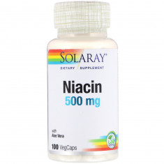 """Vitamina """"Niacin 500 mg"""" - Solaray (Val: Mar/2023)"""
