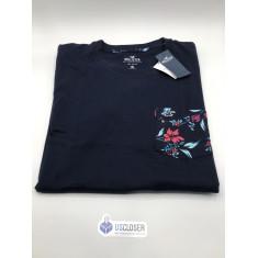 Camiseta Hollister Gola V  Azul com detalhes  - Tam: M