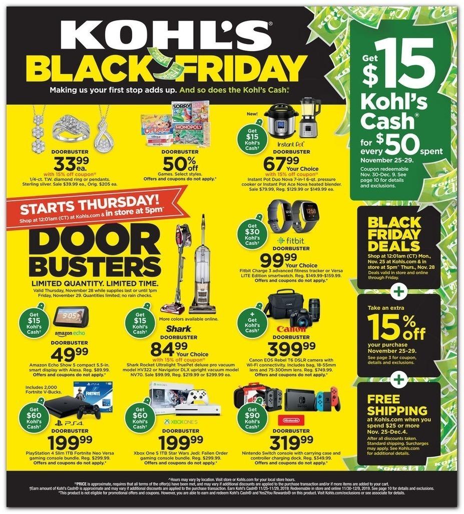 Anúncio da Black Friday de 2019 da loja Kohl's